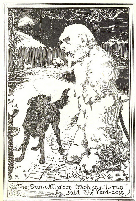 The Snow-man.  By H.J. Ford ( Henry Justice Ford 1860-1940). These are from The Pink  Fairy Book , published in 1897 , though these pics are from the 1901  re-issue.