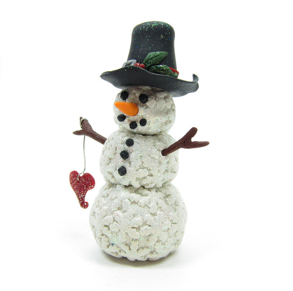 Snowman Miniature Figurine Polymer Clay Sculpture with