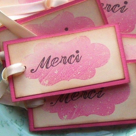 Merci Hang Tags - Shabby Chic Pink and Vintage Inspired