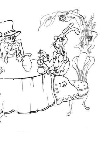 Dibujo De El Sombrerero Loco Y El Conejo De Marzo En La Fiesta De Te