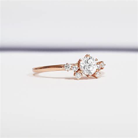 Lab grown diamond cluster engagement ring in 14 carat rose