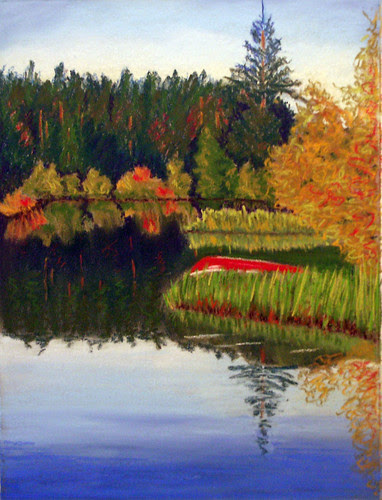 Red Canoe, pastel by Judy Horne by trudeau
