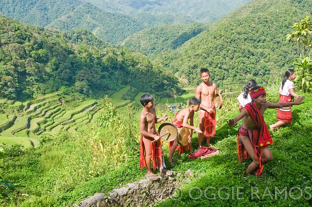 Bangaan - Cultural Dancers with the Terraces as Backdrop