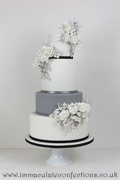 White and Grey Floral Wedding Cake   Grey Wedding