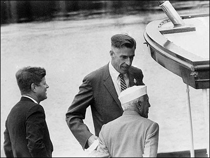 John F. Kennedy, John Kenneth Galbraith, and Jawaharlal Nehru, in a photo from Galbraith's book, ''Ambassador's Journal: A Personal Account of the Kennedy Years.''