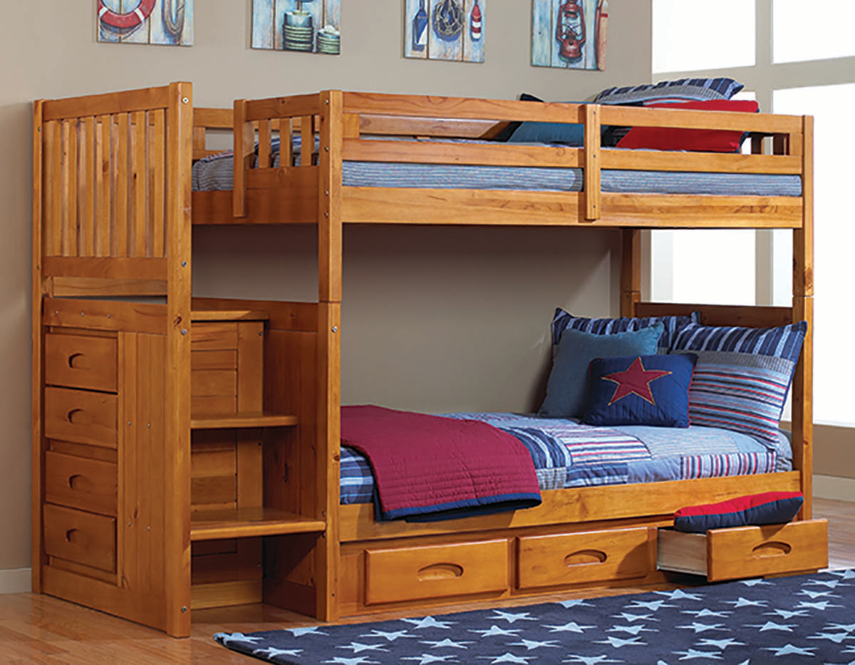 Discovery World Furniture Twin over Twin Honey Mission Staircase Bunk Beds – KFS STORES
