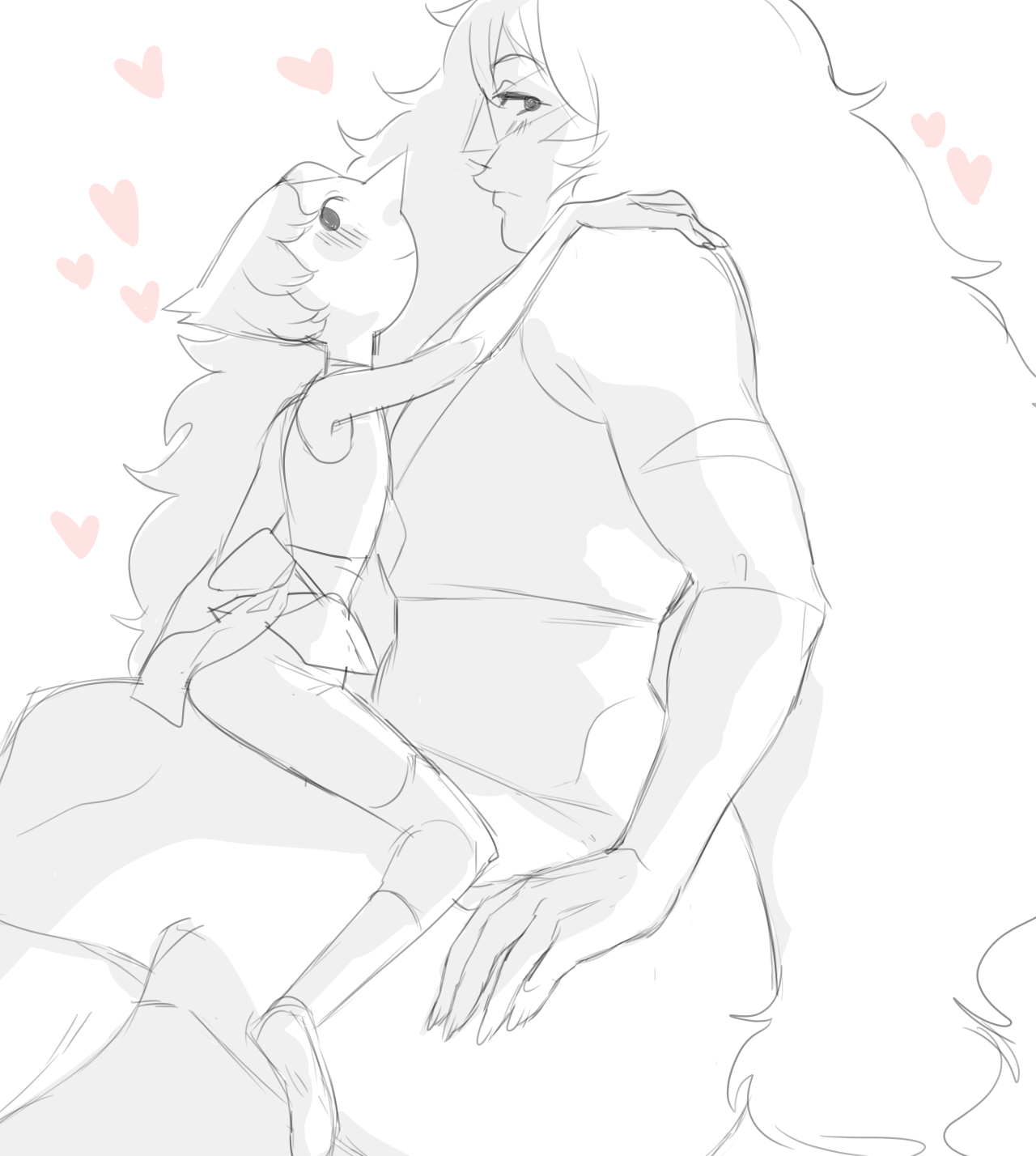 i reaaaaaaally missed drawing jaspearl so i thought id sketch them before i went to bed (i guess pearl likes to be bounced on jaspers huge thigh????)