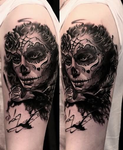 Day Of The Dead Girl Tattoo On Arm