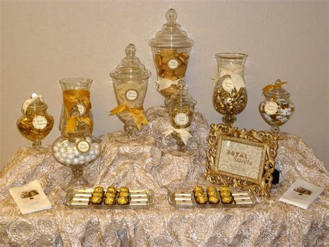 gold candy buffet   personalized chocolates and golden