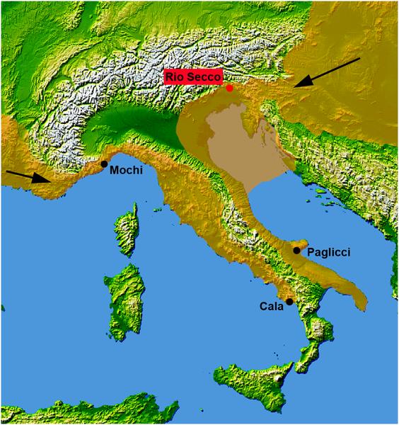 Figura 1 Los primeros sitios del Medio Paleolítico Superior en Italia.