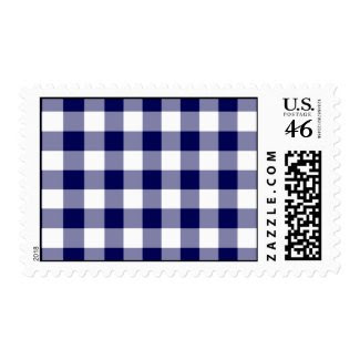 Navy and White Gingham Pattern – Medium Postage Stamps