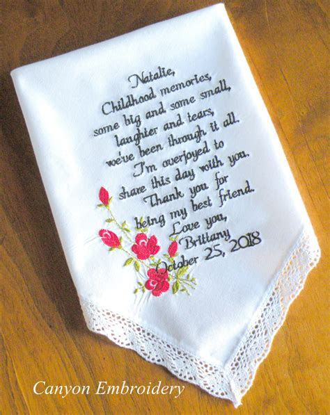 Wedding Gift Best Friend Embroidered Wedding Handkerchief