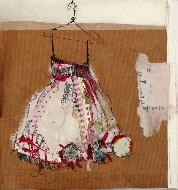priscilla jones...great collage  (Drawing from life, lit vintage clothing, folds and shadows)