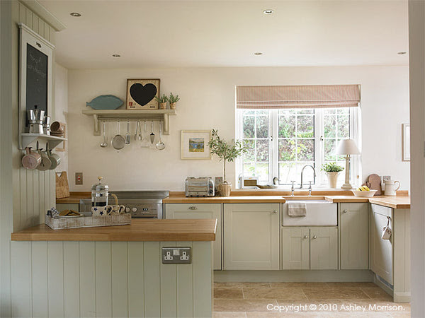 Farrow and Ball Shaded White painted kitchen