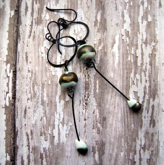Walk Along The Seashore, dangle, hoop, drop, scorched earth ceramic, aqua bronze, earrings by anvil artifacts