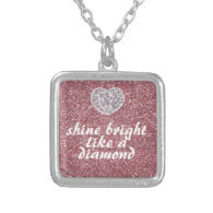 Pink Glitter Shine Bright Diamond Personalized Necklace
