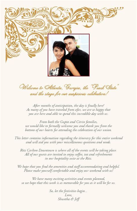 Indian Wedding Welcome Letter   Paisley Pattern Indian