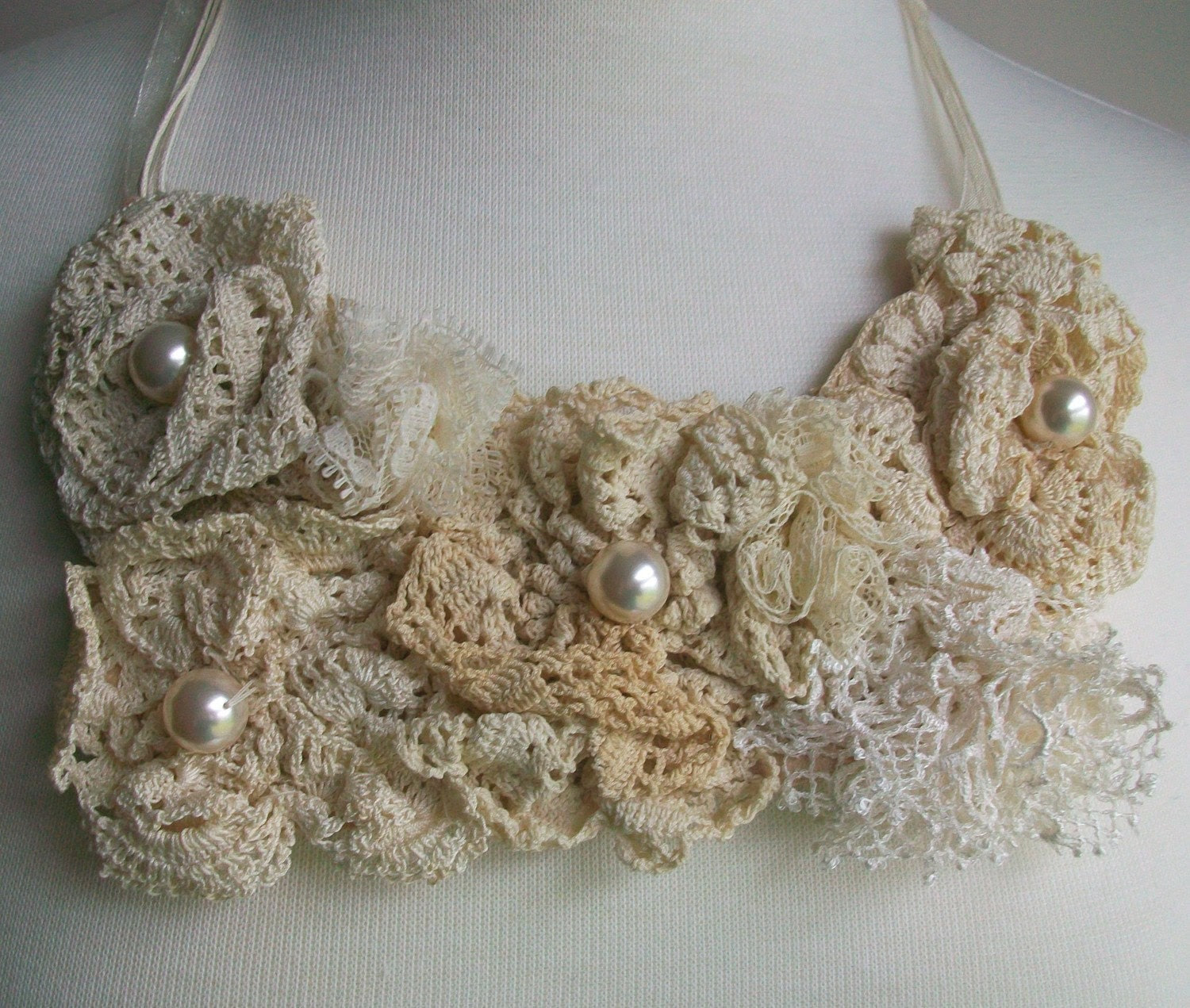 Bib Necklace with Vintage Lace Roses
