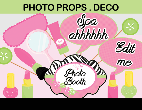 Spa Party Photo Booth Props Decorations Instant Download