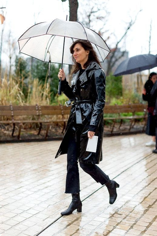 Le Fashion Blog Street Style Patent Leather Trench Raw Hem Straight Leg Jeans Black Leather Boots Via Harpers Bazaar