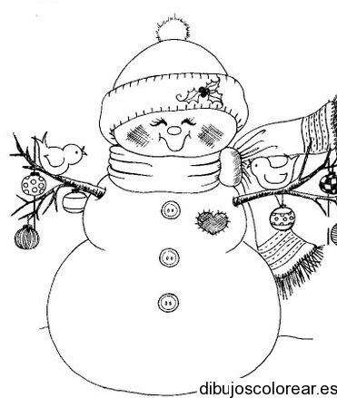 Dibujo De Muñeco De Nieve Con Dos Palomas