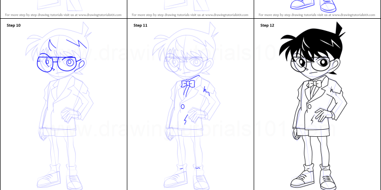 Detective Conan Drawing Step By Step