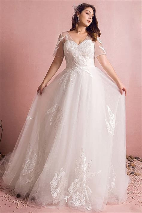 A Line V Neck Short Sleeve Tulle Lace Plus Size Wedding