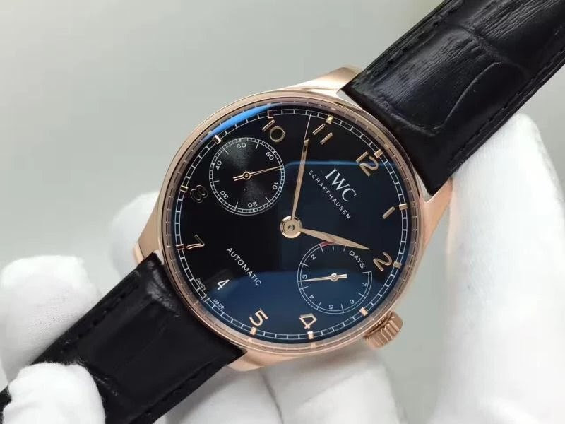 Replica IWC Portuguese 7 Days Power Reserve Black Dial
