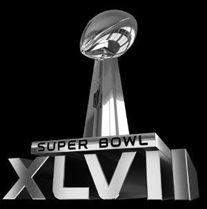 The logo for Super Bowl XLVII.
