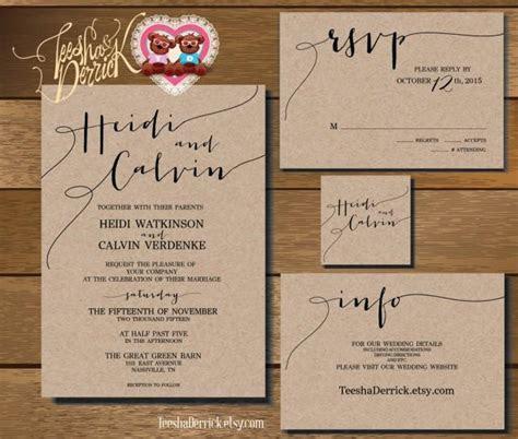 Printable Wedding Invitation Suite (w0175), Consists Of