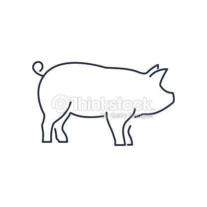 豚のアイコン線形貯金箱のシルエット署名の分離ホワイト バック