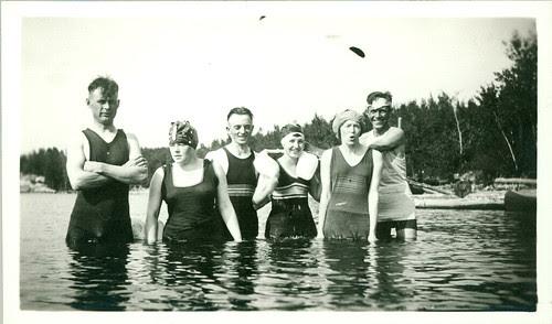 old bathing garb six in pool