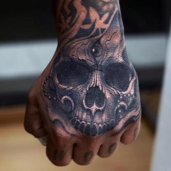 3d Black Ink Skull Hand Tattoo