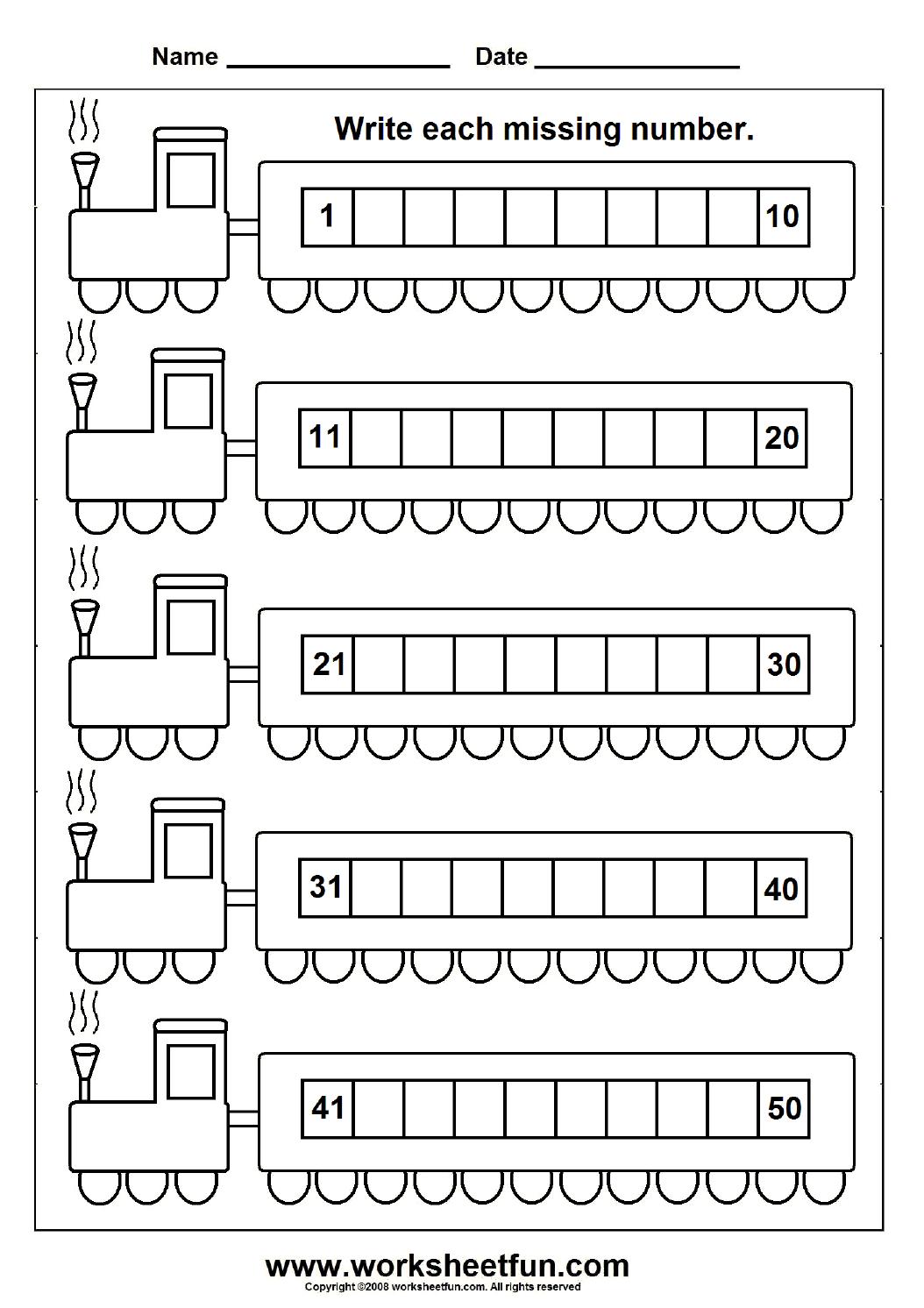 train 50 worksheet 1