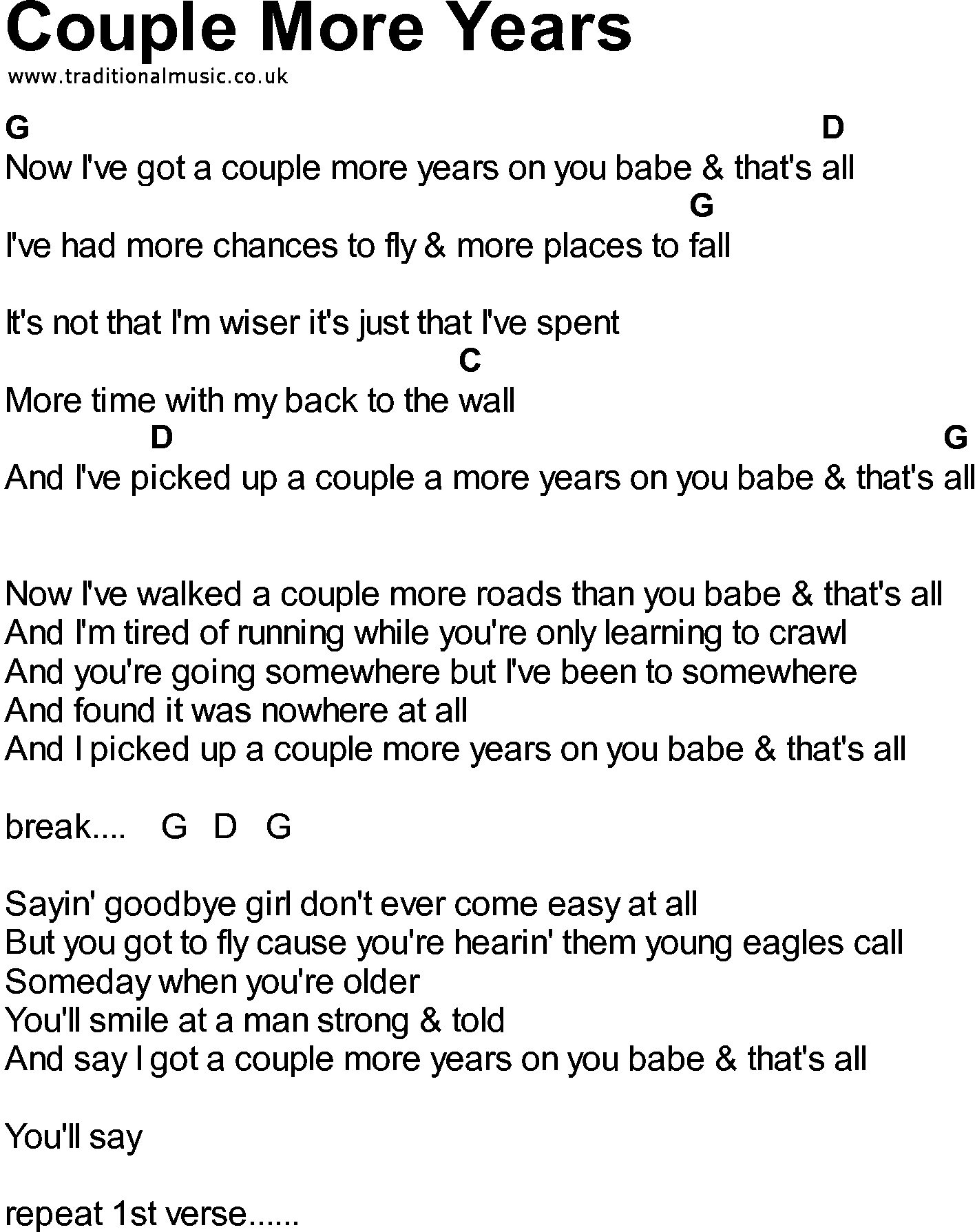 Bluegrass songs with chords - Couple More Years
