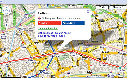 Tube overlay for Google Maps - Screengrab
