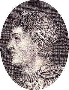 Ο αυτοκράτορας Θεοδόσιος Ι με άλω, σε σύγχρονο αργυρό δίσκο (Βασιλική Ακαδημία Επιστημών, Μαδρίτη)