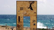 A sculpture called 'Lampedusa - Europe's gate,' by Mimmo Paladino in Lampedusa, Italy