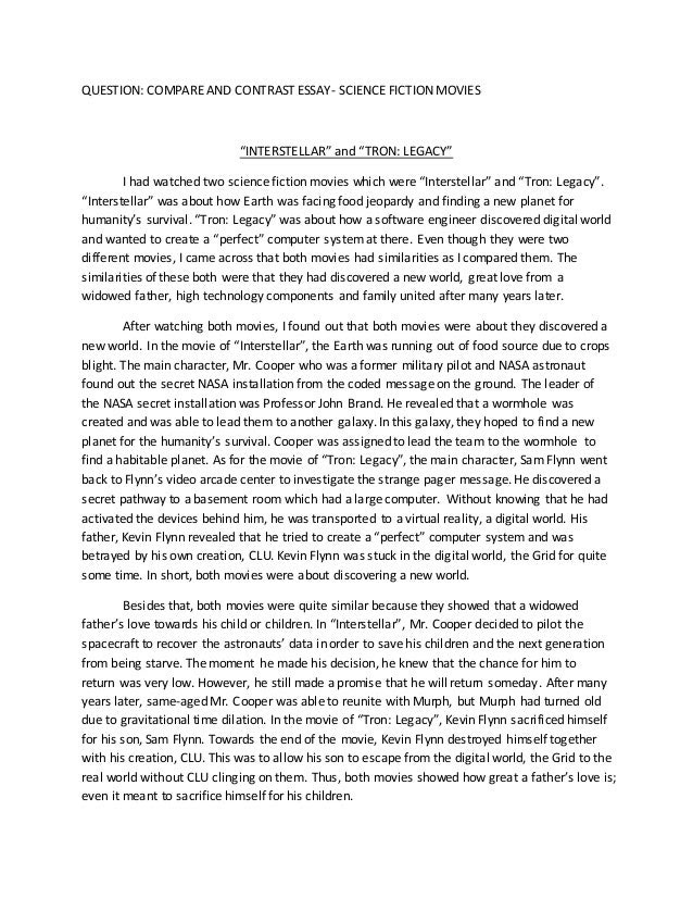 english compare and contrast essay example
