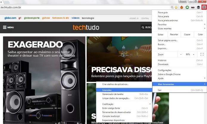 Caminho para abrir o menu de extensões do Chrome (Foto: Reprodução/Raquel Freire)