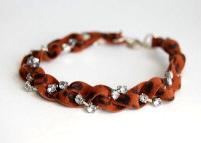 studs and pearls: diy: Leopard Print Suede  Rhinestone Bracelet