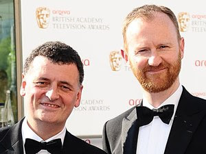 Steven Moffat and Mark Gatiss arriving for the Arqiva British Academy Television Awards 2012 at the Royal Festival Hall, London.