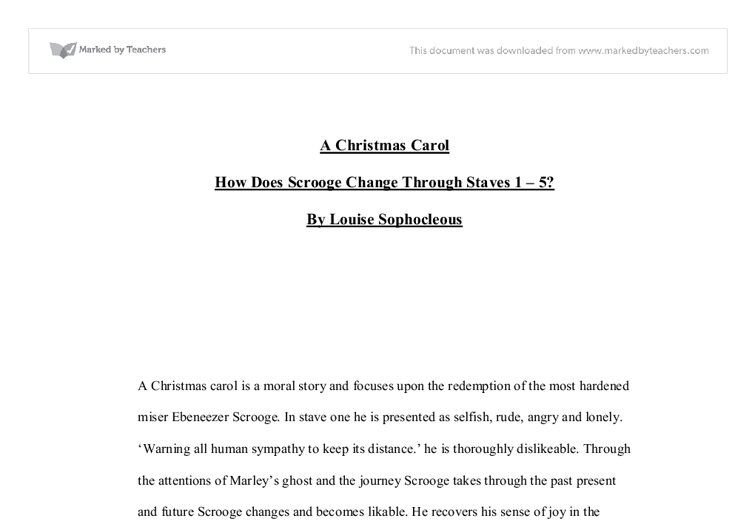 A Christmas Carol How Does Scrooge Change Through Staves 1 5