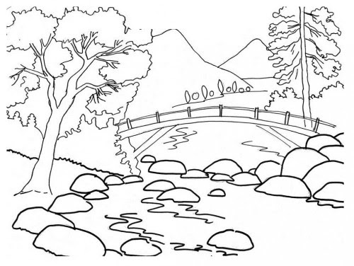 Coloring book landscape Royalty Free Vector Image | 376x500