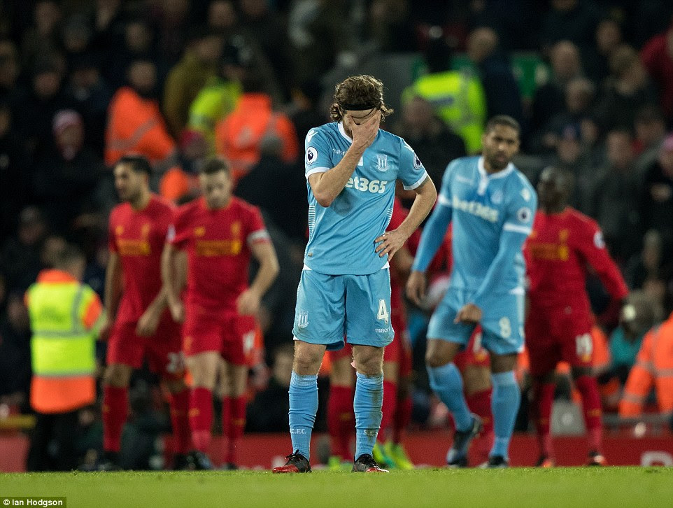 Stoke City's players are left dejected by Liverpool's fourth goal of the game - the encounter started so well for the visitors