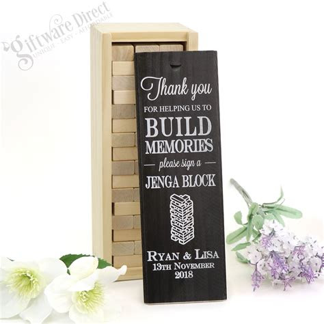 personalised jenga wedding guest book gift  engagement