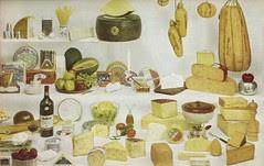 An assortment of international cheeses