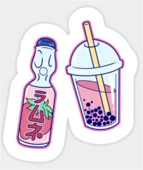 ramune  boba tea   aesthetic stickers
