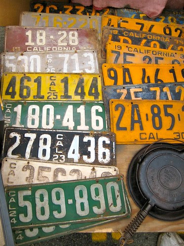 License plates and frying pan