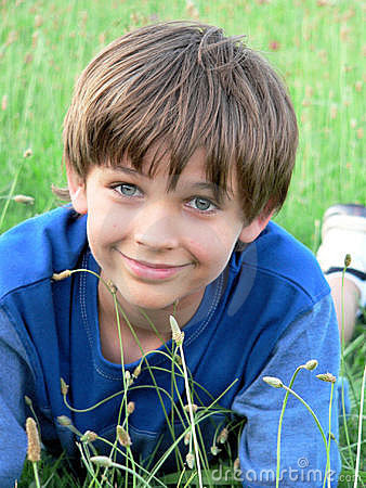 Little Boy Blue Green Field Stock Photo - Image: 5359510